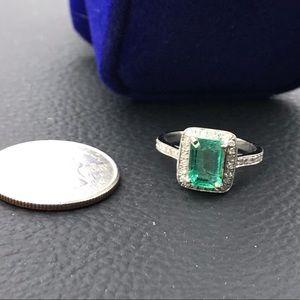 Jewelry - Gorgeous emerald natural stone w/diamond& 14k gold